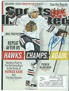 Patrick Kane Autographed Sports Illustrated Magazine Full 9/30/13 #1