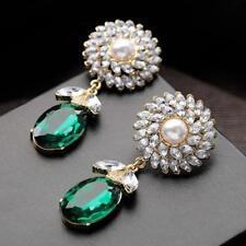 Boucles d'Oreilles Clous Tounesol Perle Goutte Vert Ovale Original Mariage AA 5