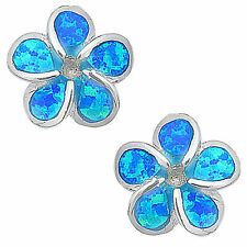 Blue real 925 Sterling Silver and Opal flower stud earrings quality jewellery UK