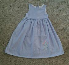 Kellys Kids Girls Blue Cotton Poplin Flower Embroidered Dress Sundress Easter 6