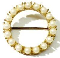 broche bijou vintage couronne de perles blanches nacrées couleur or * 4756