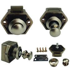 Mini Round Push Lock Nickel Knob Pop Up  Handle fr Caravan Cabinet Cupboard Door