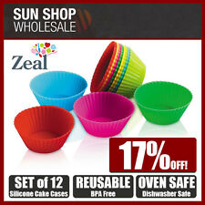 Zeal Set of 12 Coloured Silicone Reusable Cake Cases Heat Resistant to 315ºC!
