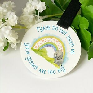 Safari Rainbow Elephant Do not touch the baby Germs Pram Tag car seat sign
