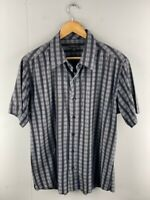 Colorado Mens Black Grey Striped Short Sleeve Casual Button Up Shirt Size Large