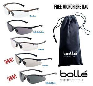 BOLLE CONTOUR Safety Glasses Clear Smoke ESP Lens Anti-Fog Anti-Scratch FREE Bag