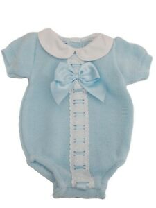 BNWT Babies blue Spanish Romany 1 piece kniited all in one romper playsuit