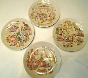 Country Kids  Set of 4 Collectors Dessert Plates 1991 Watkins Inc.