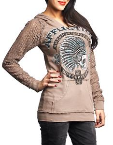 Affliction Women's Hoodie Sweatshirt AC ARROW Biker ---