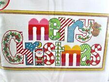 Sunset Needlepoint Merry Christmas Needlepoint Spell Out Colorful Bear Kit Vtg