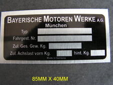 BMW SERIES 1, 2, 3, 4, 5, 6, CLASSIC CAR ID PLATE ALL-BLANK-VIN-CHASSIS-PLATES