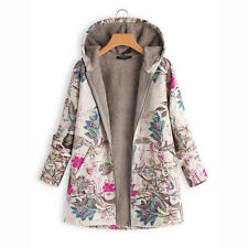 Winter Women's Long Floral Hooded Jacket Ladies Plus Size Padded Top Casual Coat