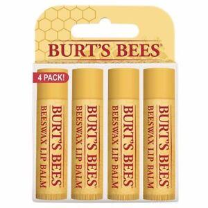 Burt's Bees Beeswax Lip Balm, 4 Tubes, With Vitamin E & Peppermint