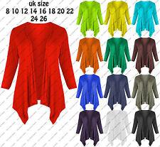 New Ladies Hanky Hem Women Plus Size Long Sleeve Open Waterfall Jersey Cardigan