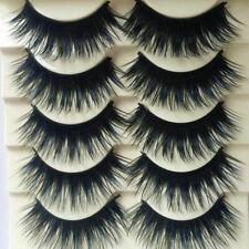 5 Pairs Blue+Black Handmade Wispy Fluffy Long Thick Cross Eyelashes Eye Lashes