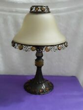 "PartyLite Metal Base Candle Holder With Frosted Shade Brown  12"" tall"