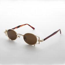 Gothic Oval Victorian Steampunk Sunglasses Gold & Brown Lens RARE - Ada