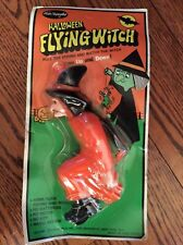 Vintage 1960's Halloween Hard Plastic Flying Witch Fun World in Orig Package Toy