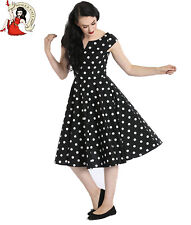 HELL BUNNY 50s NICKY DRESS POLKA DOT rockabilly spotted BLACK RED BLUE