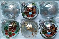 6 x Hand Painted Christmas Tree Glass Baubles - Silver & Clear Glitter Design