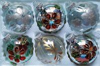 6 X Main Peint Noël Arbre Verre Boules - Argent & Transparent Paillette Design