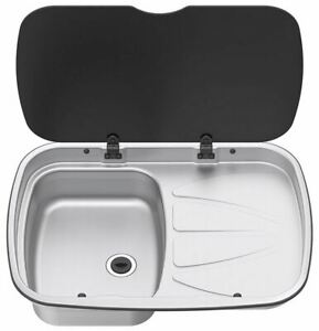 THETFORD SPINFLO ARGENT SINK & RIGHT HAND DRAINER & GLASS LID MOTORHOME CARAVAN