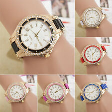 Lovely Women's Quartz Watch Roman Numerals Analog Rhinestone Golden Alloy Case