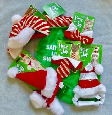 NEW Cat or Small Dog 6 items Christmas Costumes 1 cap, 2 Hats, 2 Ties, Stocking