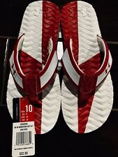 Under Armour Men's Flip Flops Sandals NWT Authentic Size 10 Red & White Thongs