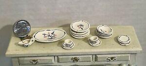 Vintage Artisan NH '73 Ceramic? Floral Dish Set 16PCS Dollhouse Miniature 1:12