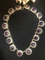 Sterling Taxco Amethyst Signed Vintage Necklace