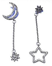 MOON AND STARS ASYMMETRICAL DROP EARRINGS crystal rhinestone silver stud new V2