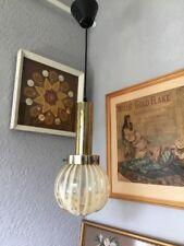 Fab Retro 1970s Dar Wave Amber Glass Globe/Ball Ceiling Light #5045