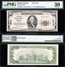 Awesome *RARE* Bold Choice VF++ 1929 $100 MIAMI, FL National Banknote! PMG 30!