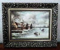 Antique Oil Painting Rural Dutch Village Winter Landscape Scene O/C Signed Art