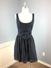 Hollister Navy Blue L Lace Overlay dress Bow Belt Excellent Fit Flare
