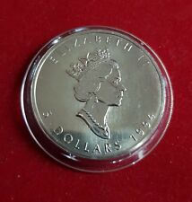1994 Canada Maple Leaf .9999 Silver $5 Coin - 1 oz Troy - Five 5 Dollars