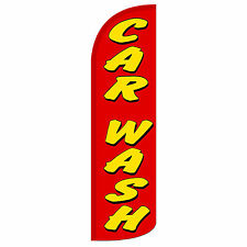 Car Wash Windless Swooper Feather Flag Tall Banner Sign 3' Wide Red Yellow