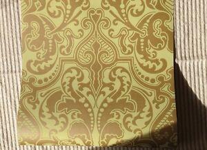 10-ROLL RALPH LAUREN WALLPAPER MSRP$790 GWYNNE DAMASK PISTACHIO GREEN GOLD 55Y