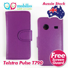 Telstra Pulse ZTE T790 Purple PU Leather Wallet Case Cover Screen Protector