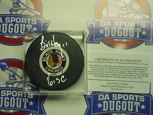 BILL HAY SIGNED PUCK Chicago Blackhawks W/ 61 Stanley Cup HAWKS RARE COA