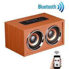 Bluetooth Speaker 4.1 Sound Bar 3D Stereo 10W Wireless Wooden HiFi FM Radio New