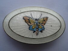 C1920S VINTAGE PRETTY BUTTERFLY SILVER AND IVORY GUILLOCHE ENAMEL PIN BROOCH