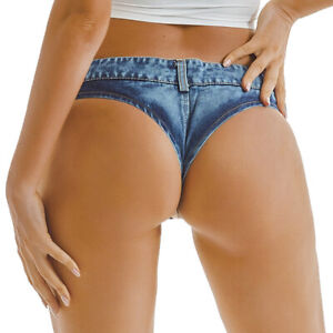 Lady Micro Denim Shorts Sexy Hot Pants Mini Jeans Low Waist Thong Slim Club Chic