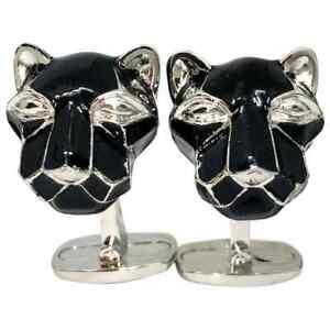 Men's Black Hand Enameled Cougar Head Shaped Sterling 925 Silver Cufflinks