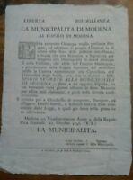1796 MODENA OCCUPAZIONE FRANCESE SU CASSETTA DOVE METTERE LETTERE SEGRETE