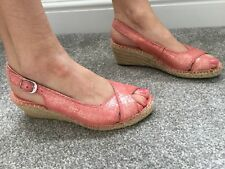 Beautiful Clarks pink wedge sling back shoes size 4D peep toe sandal shoes VGC
