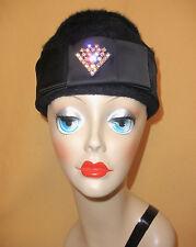 1960's Black Fuzzy Wool Pillbox Hat w/ Satin Trim & Rhinestone Accent by O'Neils