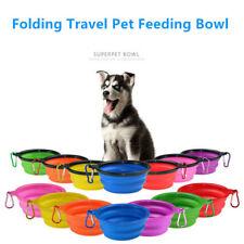 Portable Travel Folding Silicone Pet Dog Water Food Feeding Bowl 350ML+Carabiner