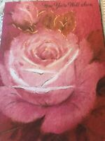Vintage Greeting Card Get Well Hallmark Pink Red Rose Gold